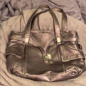 Metallic grey Michael Kors shoulder bag